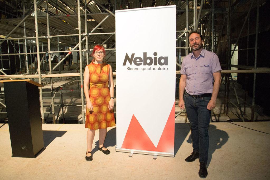 Marynelle Debétaz, directrice générale et artistique et Juan Diaz, directeur adjoint, lors de la conférence de presse annonçant l'avancée des travaux et le changement de nom.